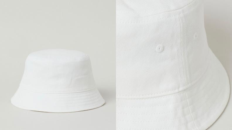 white bucket hat with short brim
