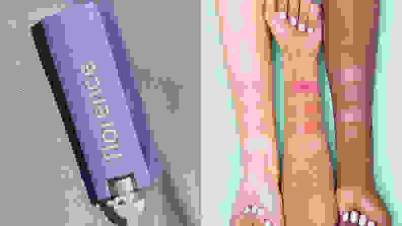On the left: A purple tub of lip balm from Florence by Mills. On the right: Three arms of different skin tones with tinted lip balms swatched on each arm.