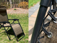 On left, tan Kohl's Sonoma Goods For Life regular antigravity chair outdoors on grass. On right, close up of tan Kohl's Sonoma Goods For Life regular antigravity chair.