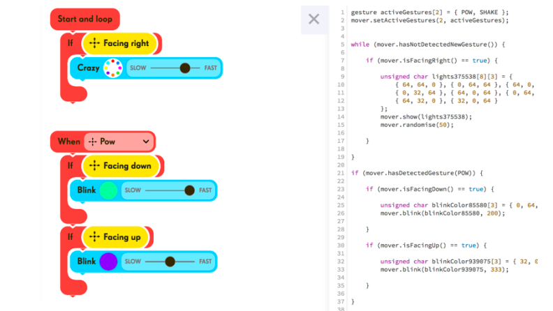 An example of block and Javascript code for the Mover