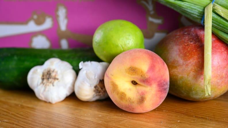 bruised white peaches