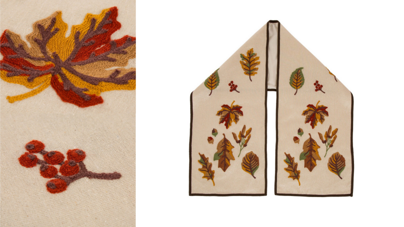 An image of an embroidered table runner accompanied by a close up shot of the embroidery featuring two bits of fall foliage.