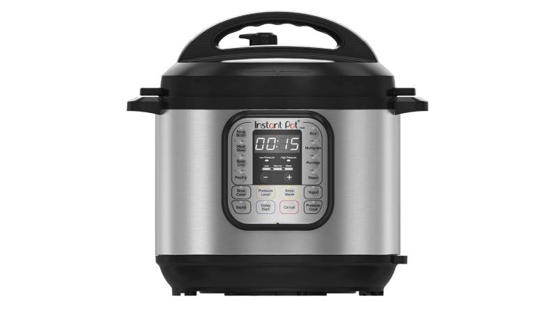 An image of an Instant Pot Duo pressure cooker on a white background.