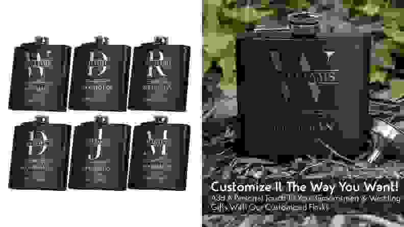 Black colored flasks with personalized writing