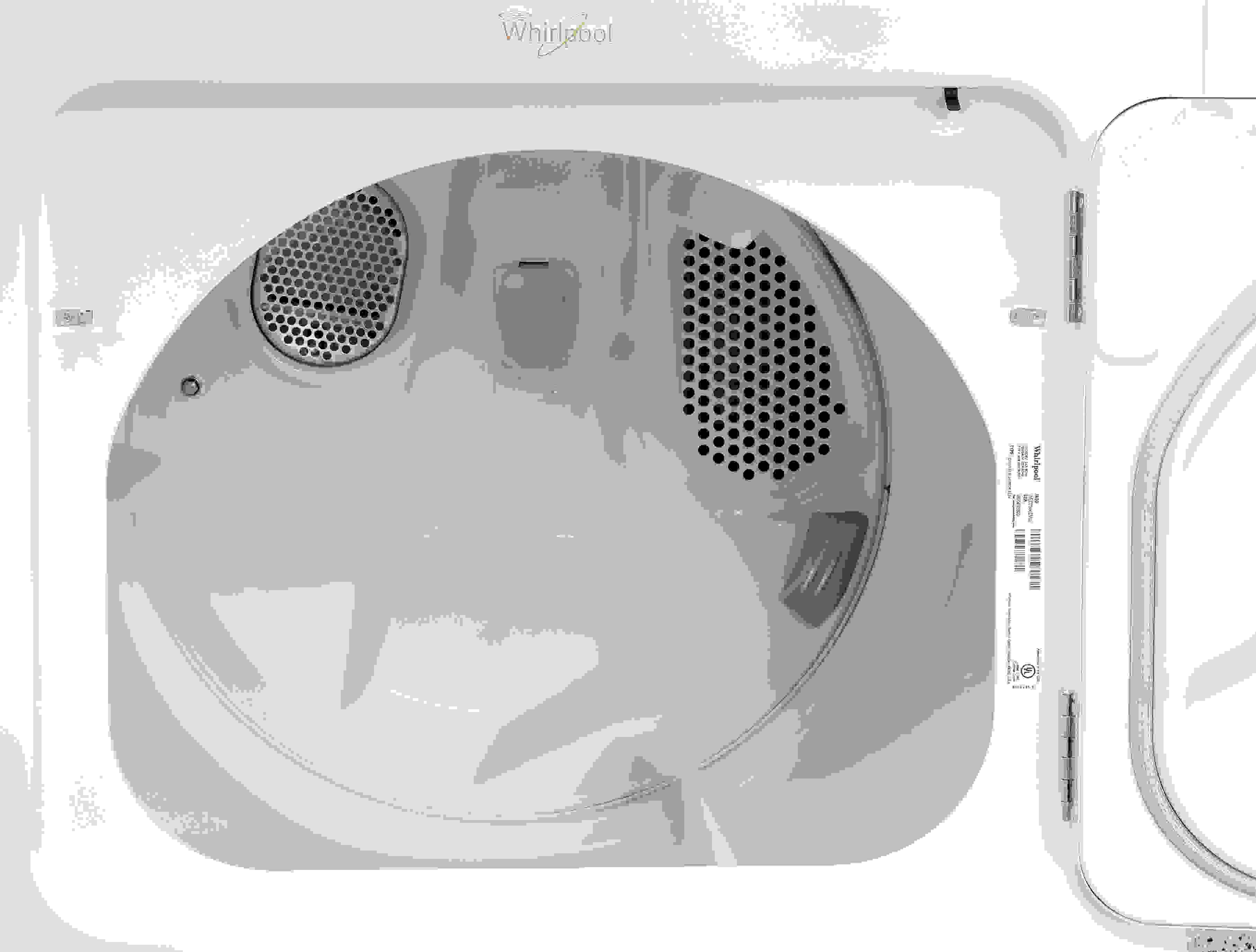 White metal interiors, like the kind found inside the Whirlpool Cabrio WED7300DW, tend to be more prone to rusting or flaking over years of use compared to stainless ones.