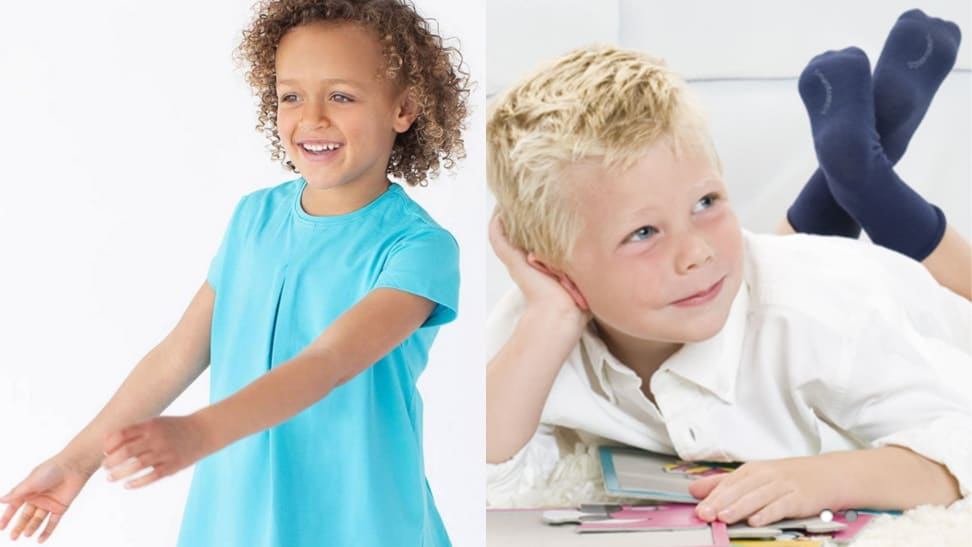 Children wearing clothing without tags or seams