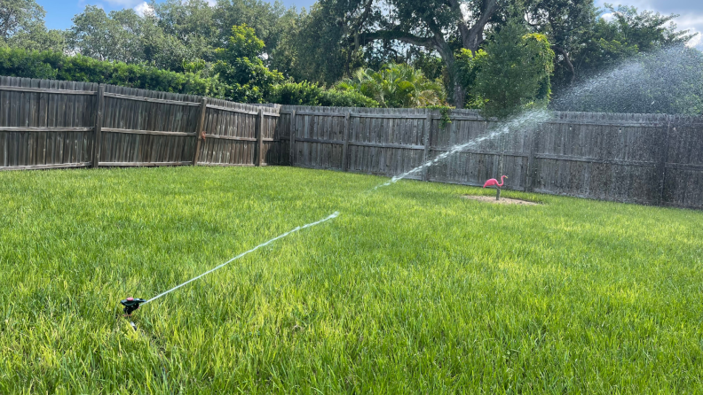 The Orbit B-hyve XD Hose Faucet Timer  waters grass