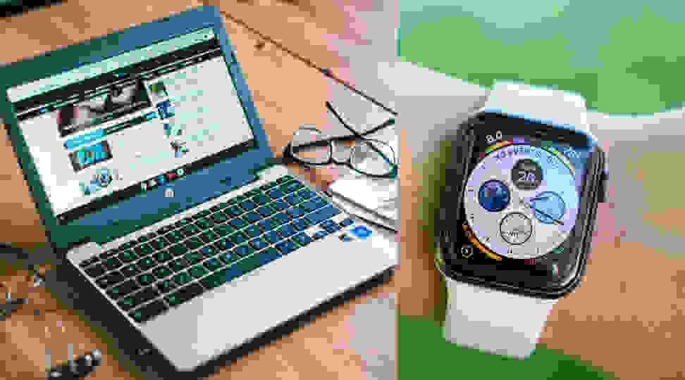 HP Chromebook 11-v031nr (left) and Apple Watch Series 4 (right)