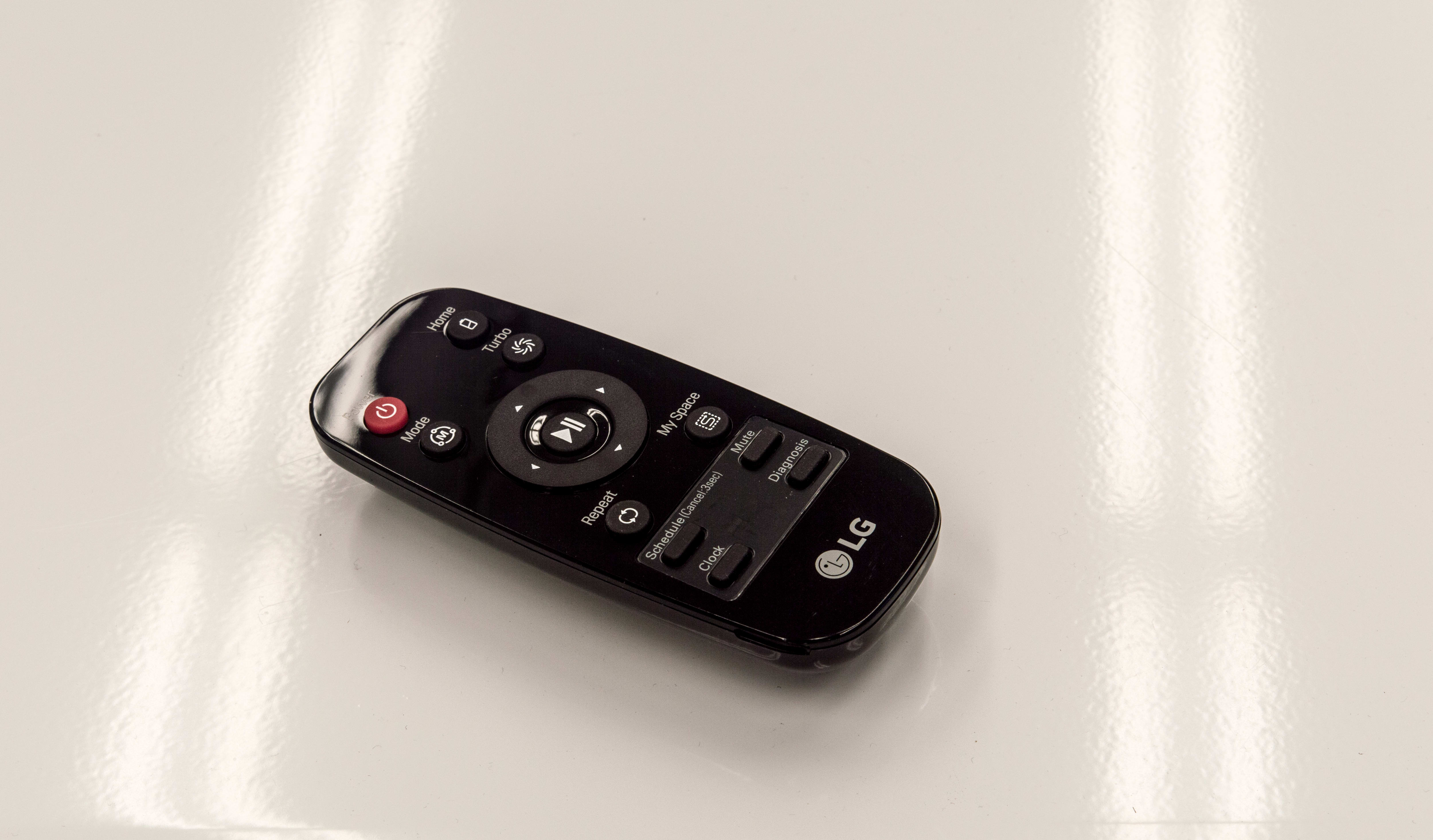 The LG Hom-Bot's remote is about as concise as it gets.