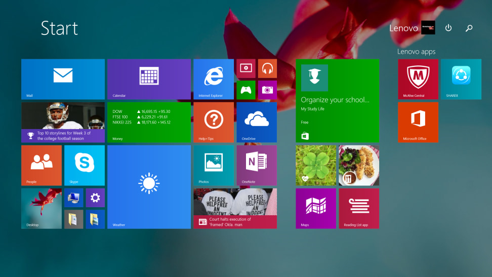 Lenovo LaVie Z - Start Menu