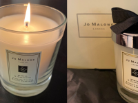 On left, Jo Malone Mimosa and Cardamom Home Candle burning. On right, Jo Malone Mimosa and Cardamom Home Candle in original packaging.
