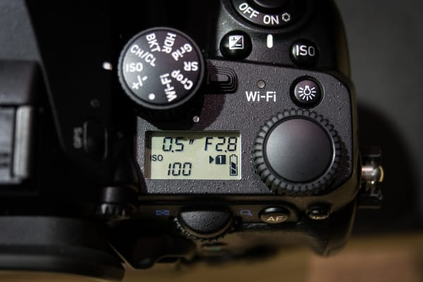Like most professional DSLRs, the K-1 offers a secondary display on the top panel with the most important shooting info.