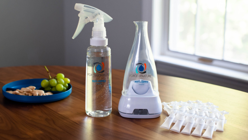 The equipment included with Force of Nature's multi-purpose cleaner includes a base, activator capsules and an Electrolyzer appliance.