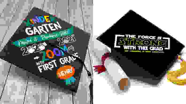 Two mortarboard grad caps: One is pandemic-themed and the other is Star Wars theme.