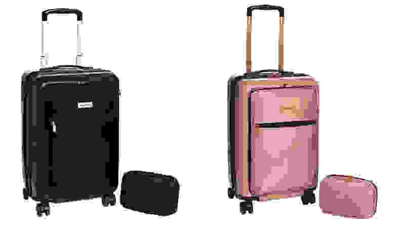 Black and pink colored suitcase on white background