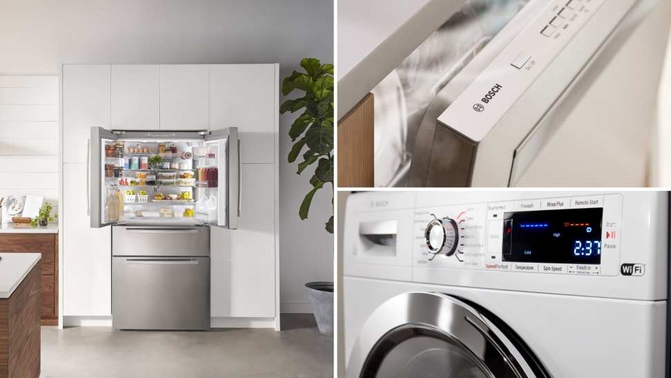 A Bosch refrigerator, dishwasher, and washer