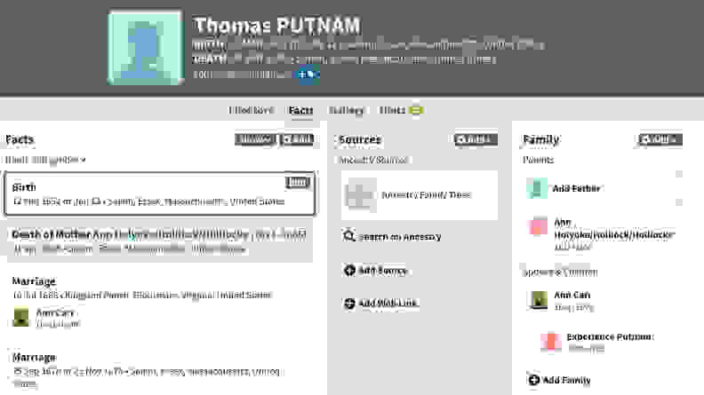 Screenshot of info on Thomas Putnam