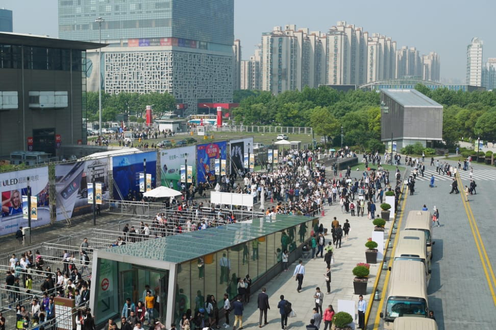 Crowds line up to enter CES Asia 2016's first day