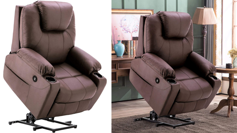 On left, brown recliner chair, extended into upright position. On right, brown recliner chair extended into upright position in living room.