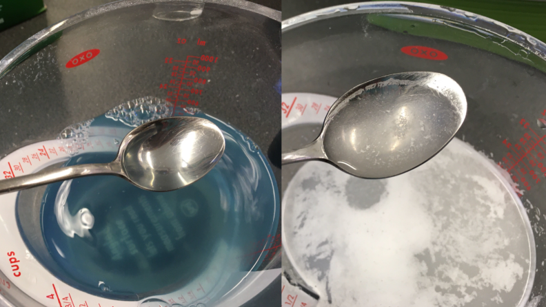 A side-by-side image showing laundry detergent dissolved in warm water and dishwasher detergent dissolved in warm water. While the laundry detergent is fully dissolved, the dishwasher detergent mixture still has white particles remaining in tact.