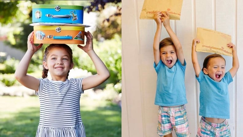 Kids hold up boxes and mailers for Little Passports