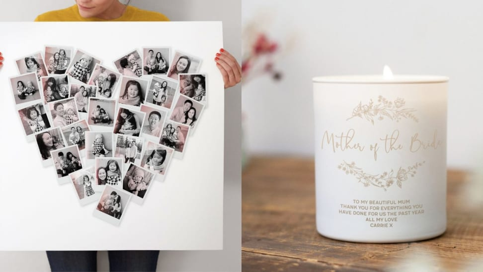 heart photo collage and mother of the bride candle