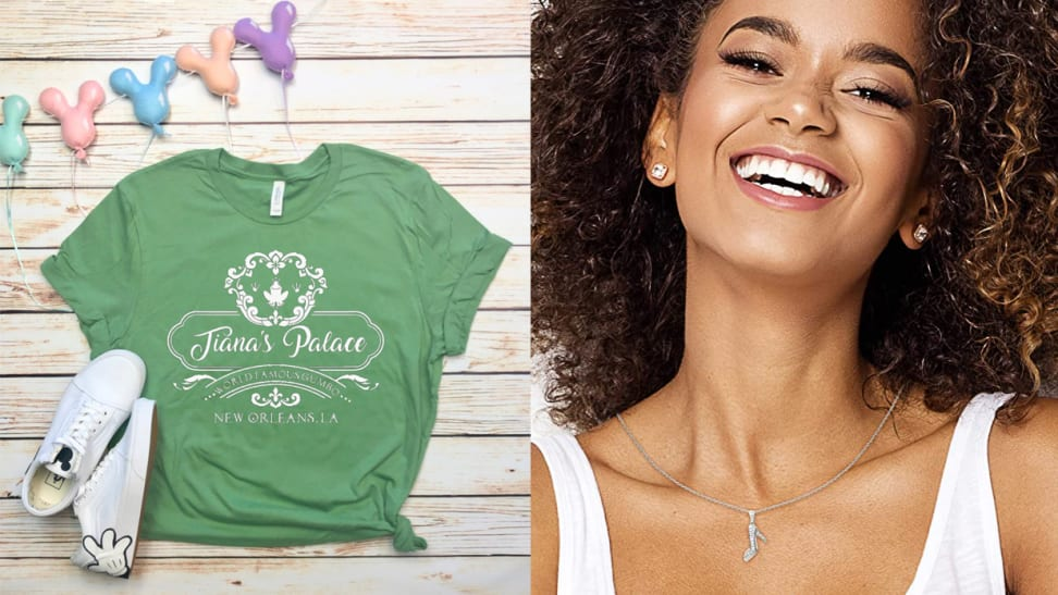 """Green shirt with """"Tiana's Palace"""" and woman wearing glass slipper necklace."""