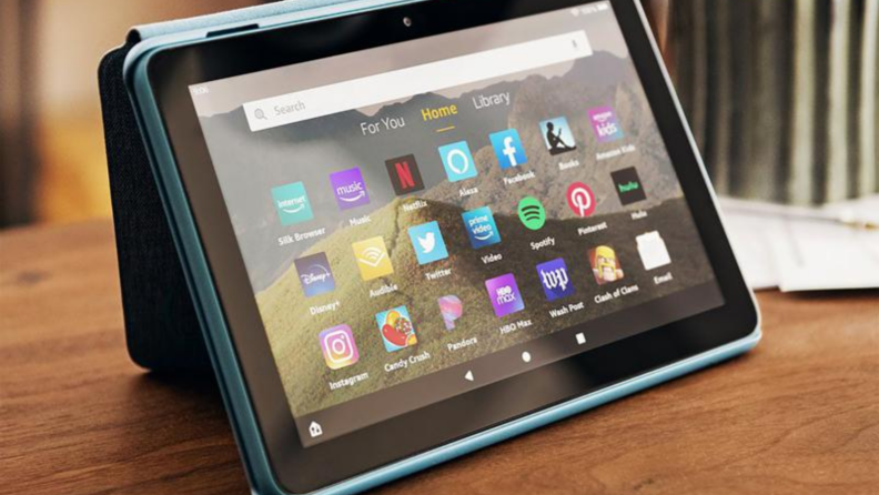 Amazon tablet on wooden table