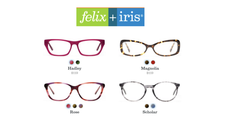 An image of the Felix + Iris logo with four pairs of glasses and their prices beneath it.