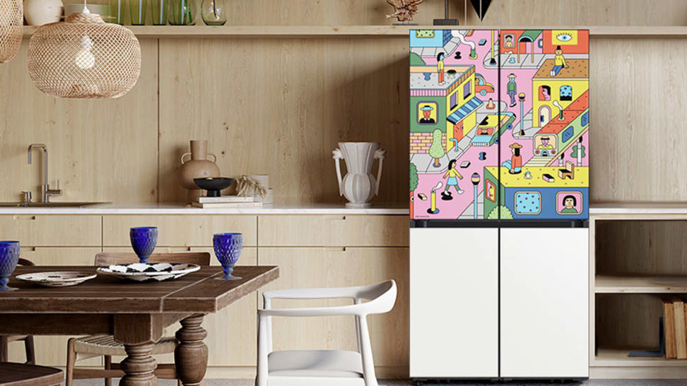 A Samsung and Andy Rementer BESPOKE 4-door refrigerator collaboration.