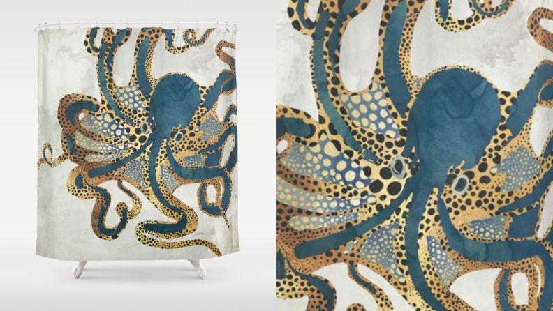 A shower curtain with an octopus design.