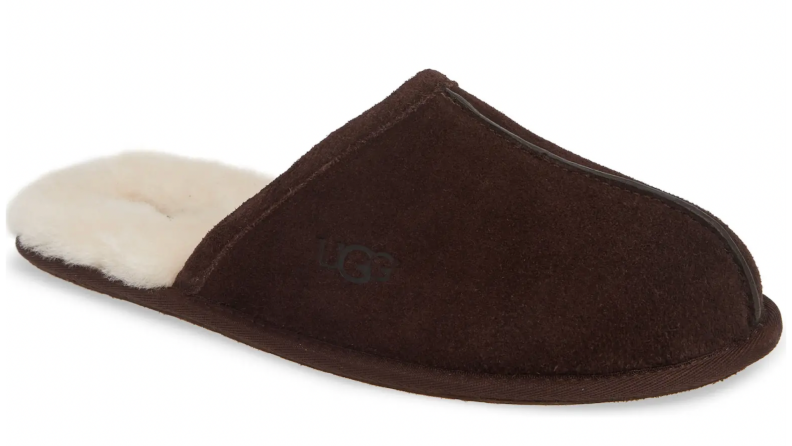 Close up of a brown Ugg slipper