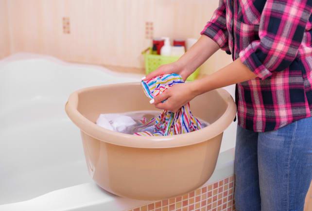 Washing-in-a-basin