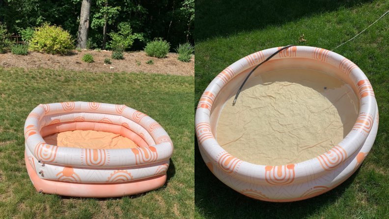 On right, inflated Minnidip pool on lawn. On right, Minnidip's Sunkissed Terracotta inflated swimming pool filled with water with hose inside.