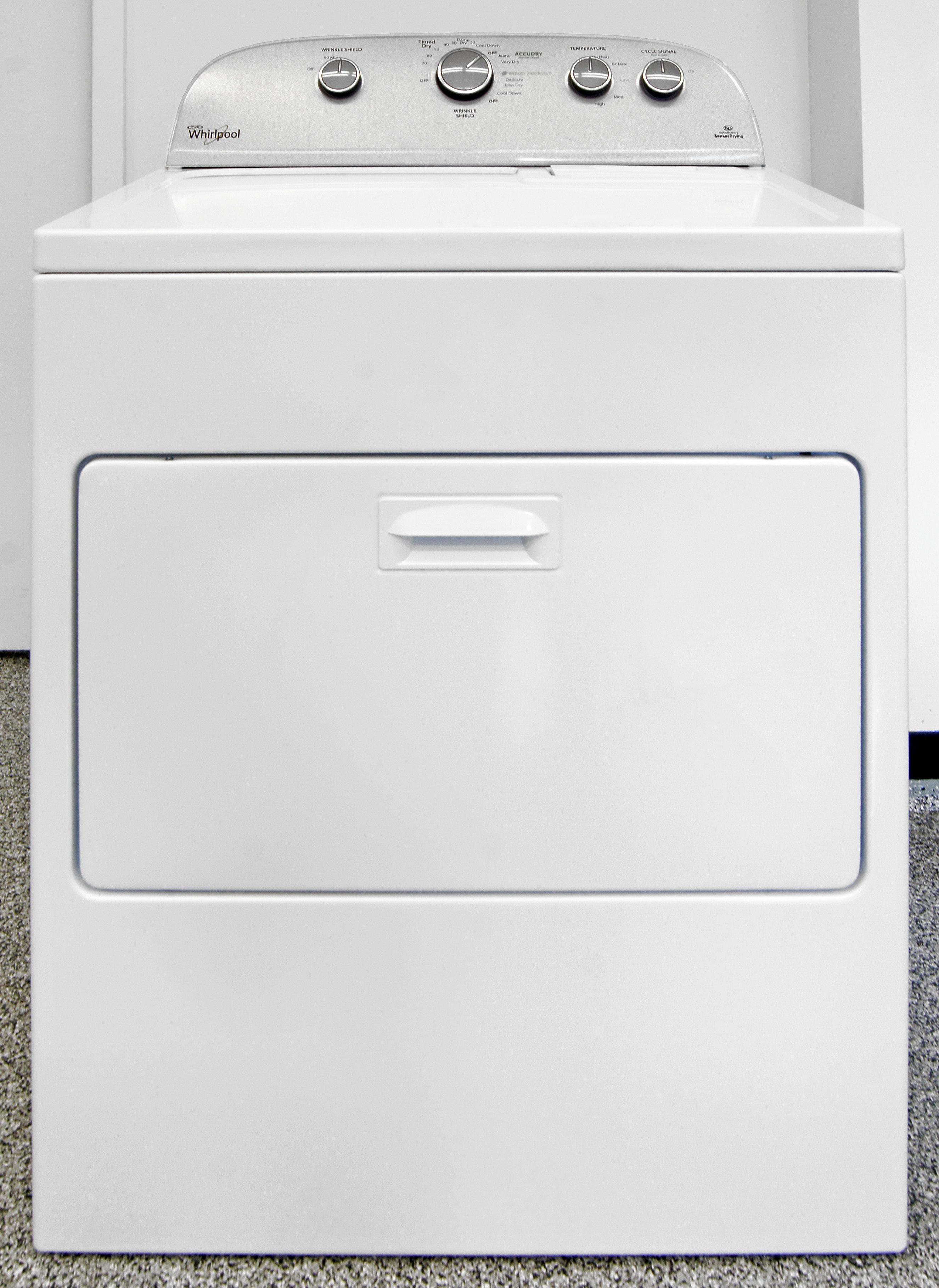 The Whirlpool WED5000EW is an old-school, white and grey hamper door dryer.