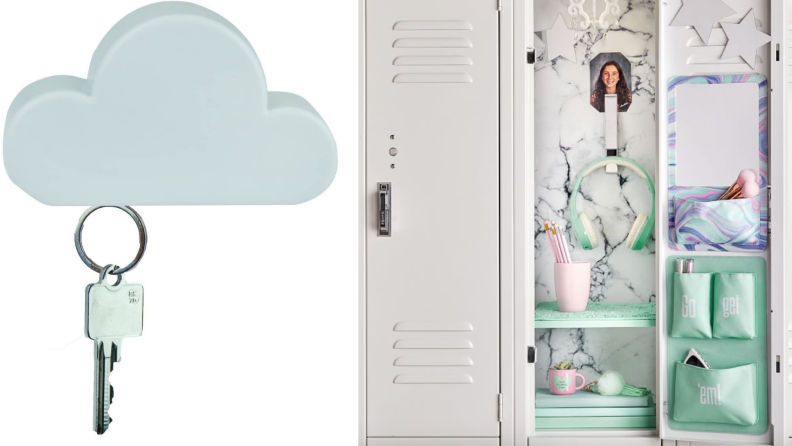 On left, white cloud magnetic wall key holder from TWONE. On right, silver locker clip-hook hanging up in decorated locker.