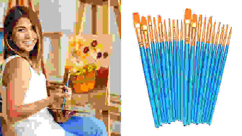 On the left: A person painting a canvas on an easel. On the right: A set of blue and gold paint brushes.