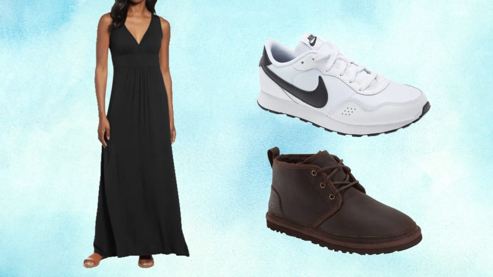 On left, person wearing black dress. On right, Nike sneaker and UGG sneaker.