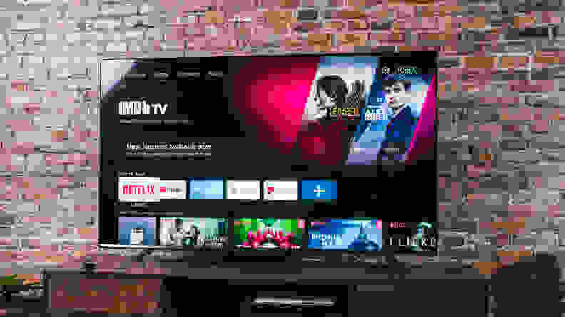 The Hisense U7G displaying its Android TV smart platform home screen