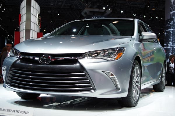 The 2015 Toyota Camry at the Toyota booth at the 2015 New York International Auto Show