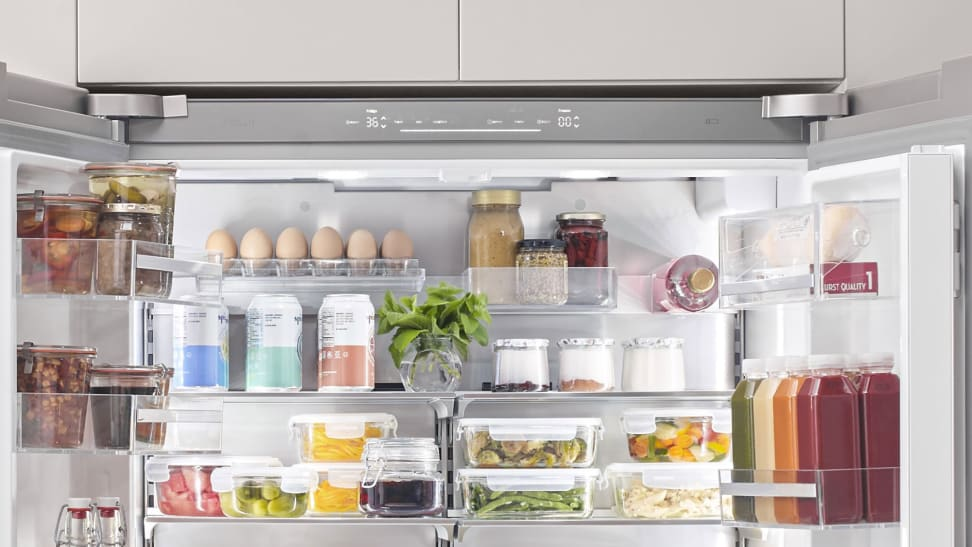 The interior of the Bosch B36CT80SNS refrigerator, stocked full of food.