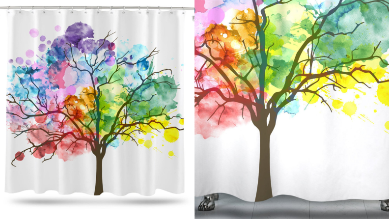 A colorful shower curtain with a tree print.