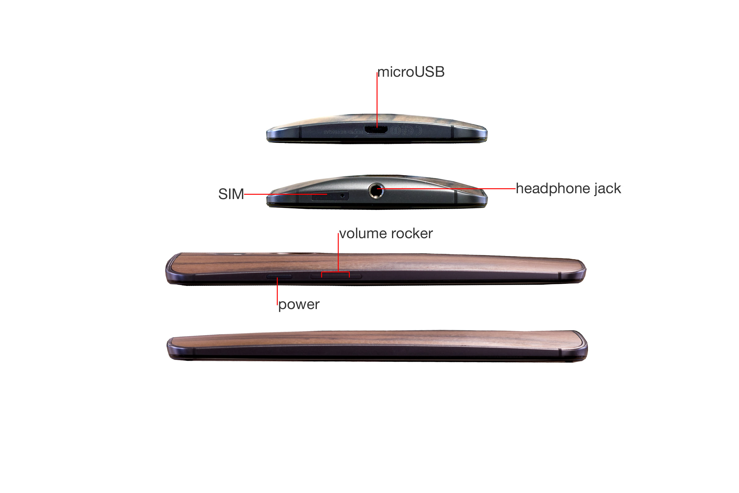 A callout image of the sides of the Motorola Moto X 2014 Edition.