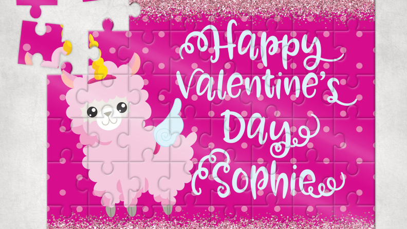 A personalized llama puzzle makes and adorable Valentine's Day gift.