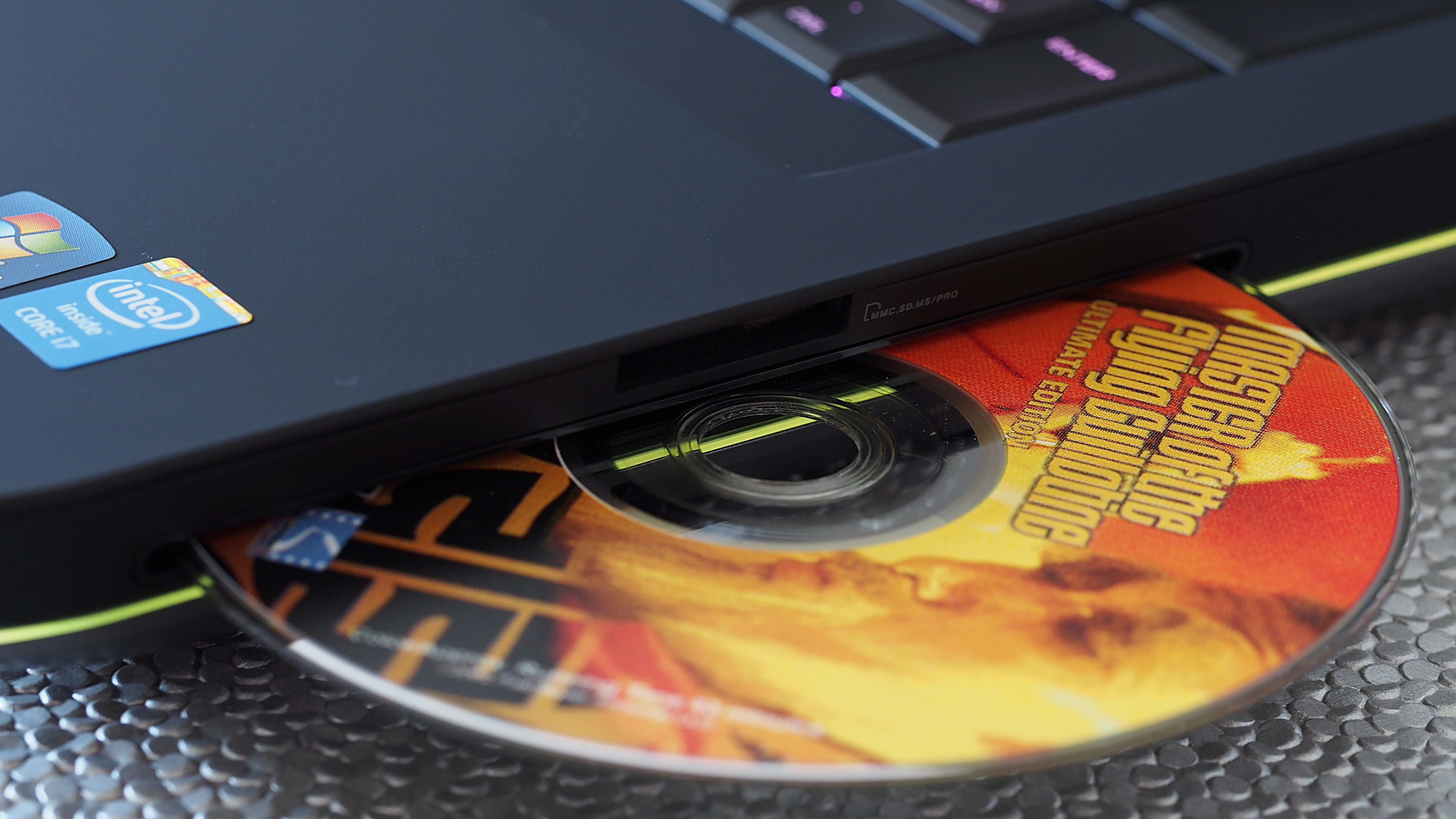 The Alienware 17 has a discrete Blu-ray drive on the right side.