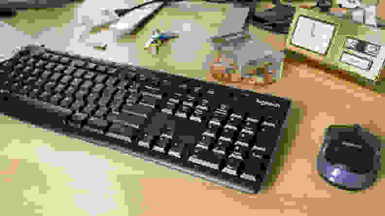 The Logitech MK270 mouse and keyboard combo viewed from above and at an angle.