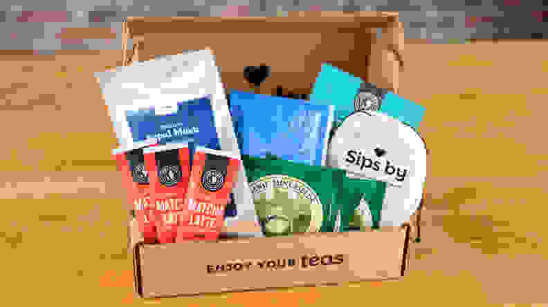 A photo of a Sips By subscription box.