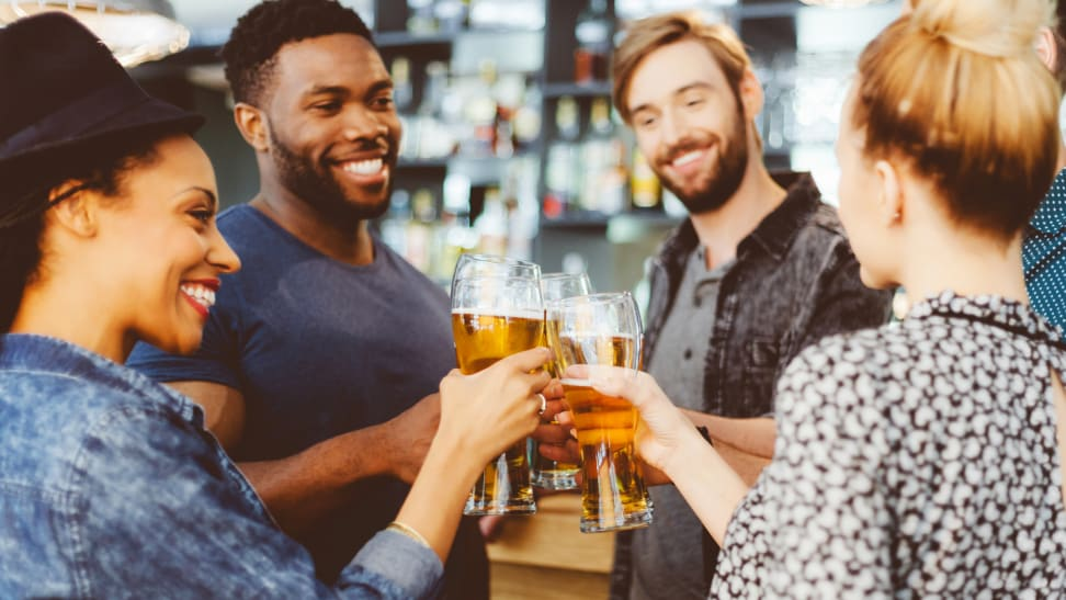 A group of friends enjoying beer