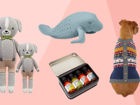 Close up product shots children's plush dolls, manatee tea bag, hot sauce variety pack, and dog wearing faux cardigan.