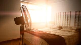 a fan sits in a sunlit bedroom in the summer